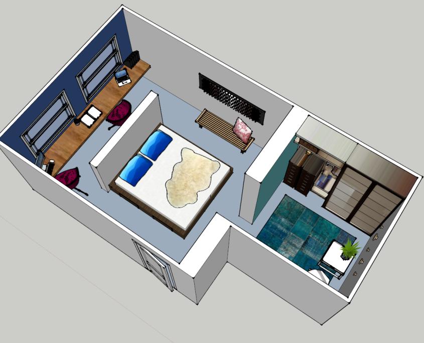 Nya interieurontwerp portfolio slaapkamer delft 3d ontwerp