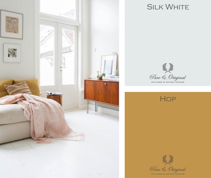 Nya Interieurontwerp kleurencombinatie silk white - hop