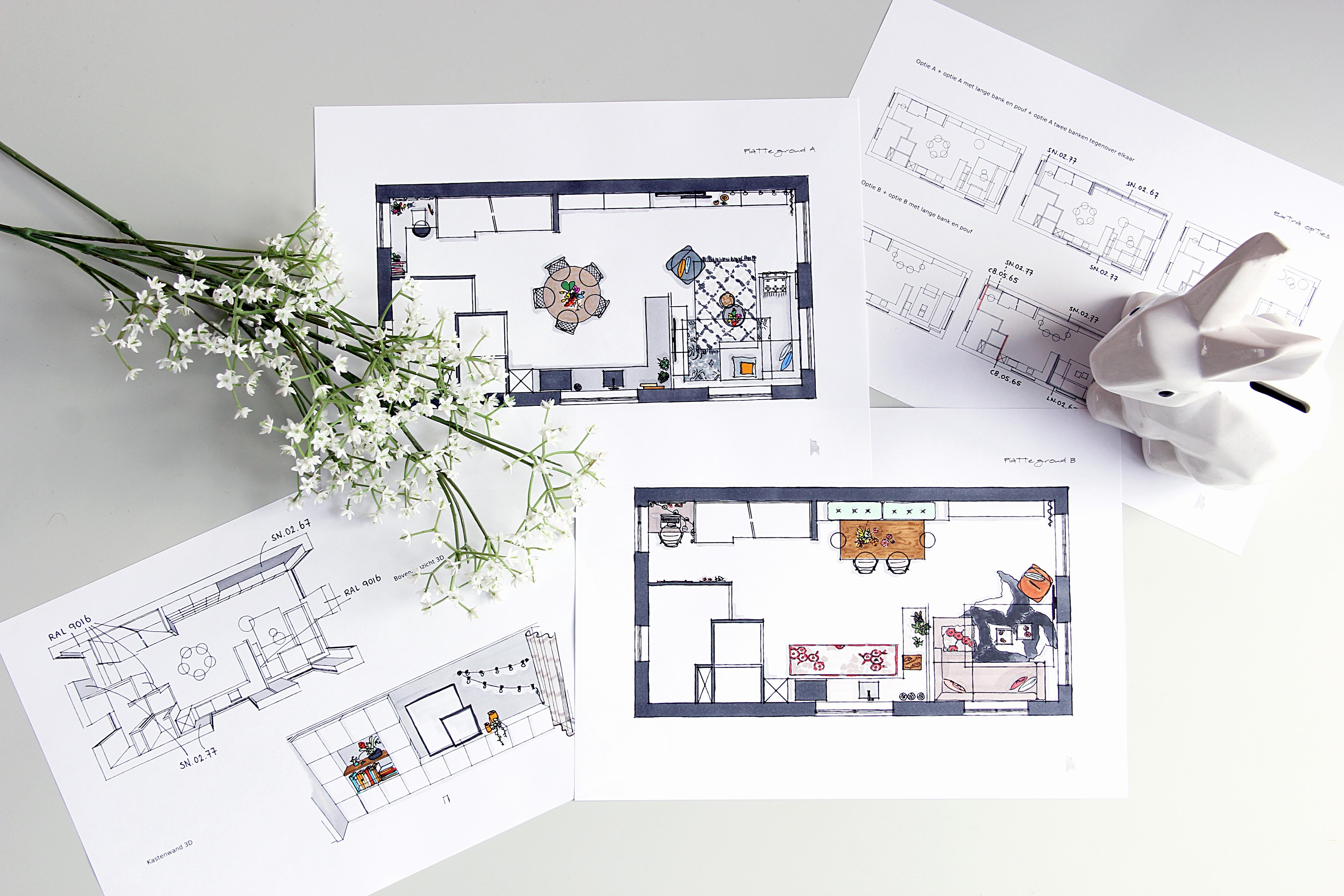 Nya interieurontwerp portfolio woonkamer en keuken pijnacker for Interieur ontwerper