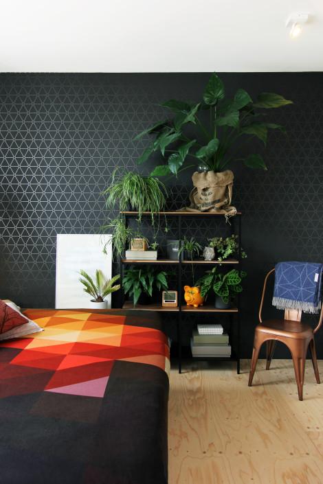 Nya Interieurontwerp bovenverdieping slaapkamer stellingkast