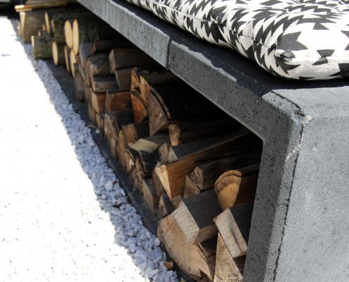 Nya Interieurontwerp tuin zithoek houtopslag